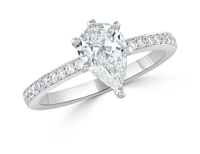 Pear shape and round brilliant cut diamond engagement ring platinum.