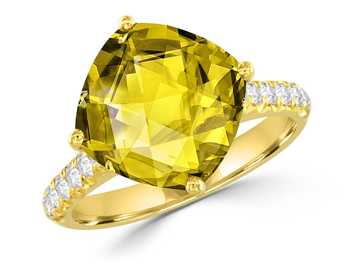 Cushion cut lemon citrine and round brilliant cut diamond ring in 18k yellow gold.