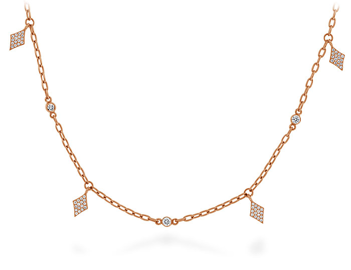 Round brilliant cut diamond necklace in 18k rose gold.