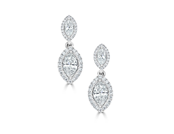 Marquise cut and round brilliant cut diamond earrings in 18k white gold.