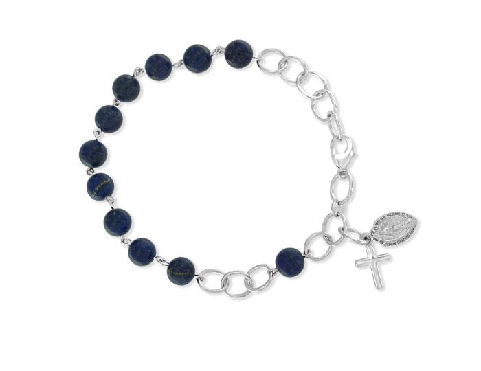 Handmade lapis rosary bracelet in 18k white gold.