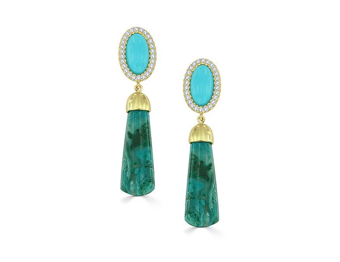 Chrysocolla, Turquoise and diamond earrings in 18 karat yellow gold.