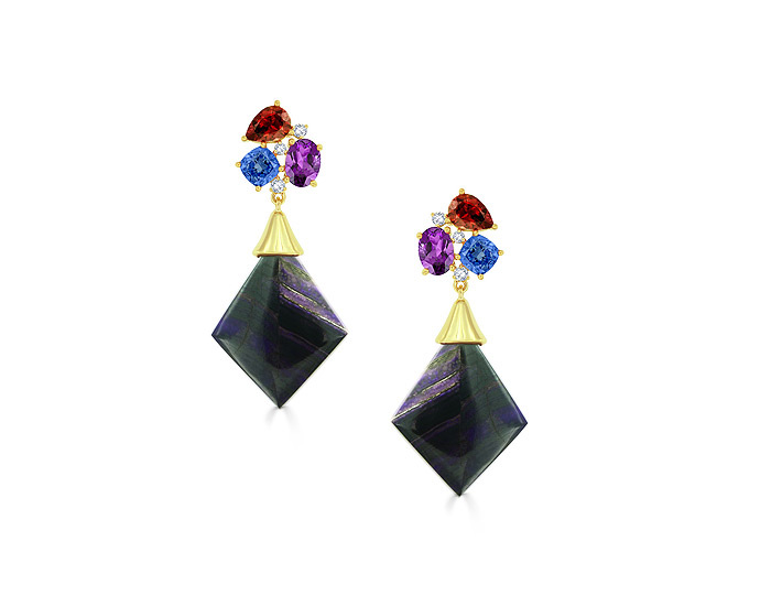 Amethyst, tanzanite, garnet, diamond and sugilite earrings in 18k yellow gold.