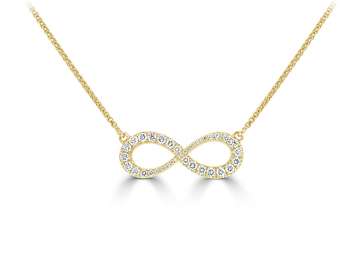 Round brilliant cut diamond infinity necklace in 18k yellow gold.
