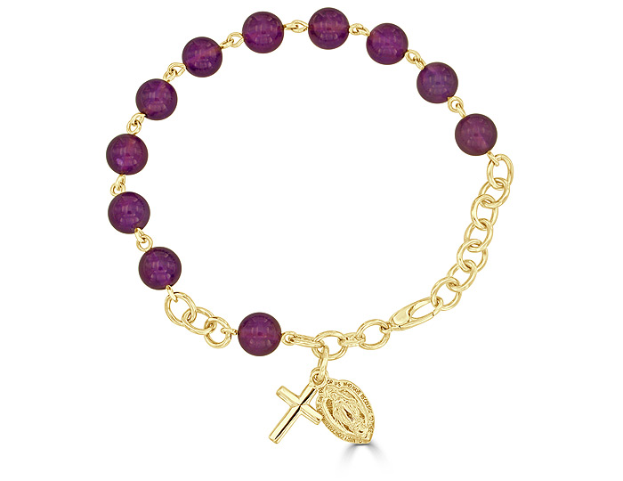 Handmade amethyst rosary bracelet in 18k yellow gold.