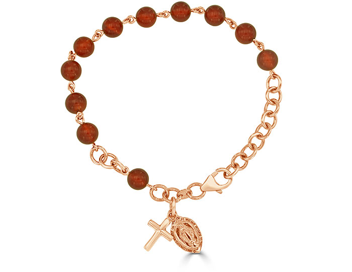 Handmade carnelian rosary bracelet in 18k rose gold.
