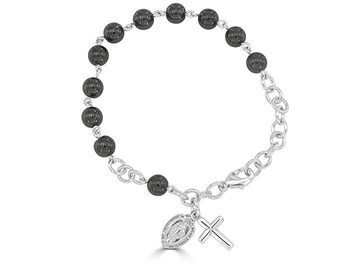 Handmade hemitite rosary bracelet in 18k white gold.