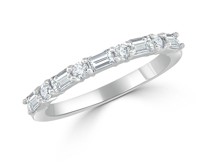 Baguette and round brilliant cut diamond band in platinum.