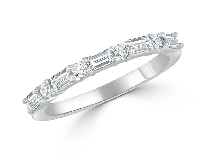 Baguette and round brilliant cut diamond band in platinum.