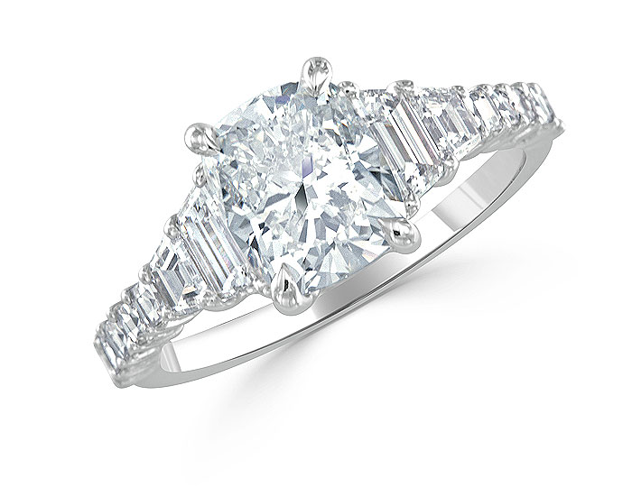 Cushion shape, trapezoid cut and blaze cut diamond engagement ring in platinum.