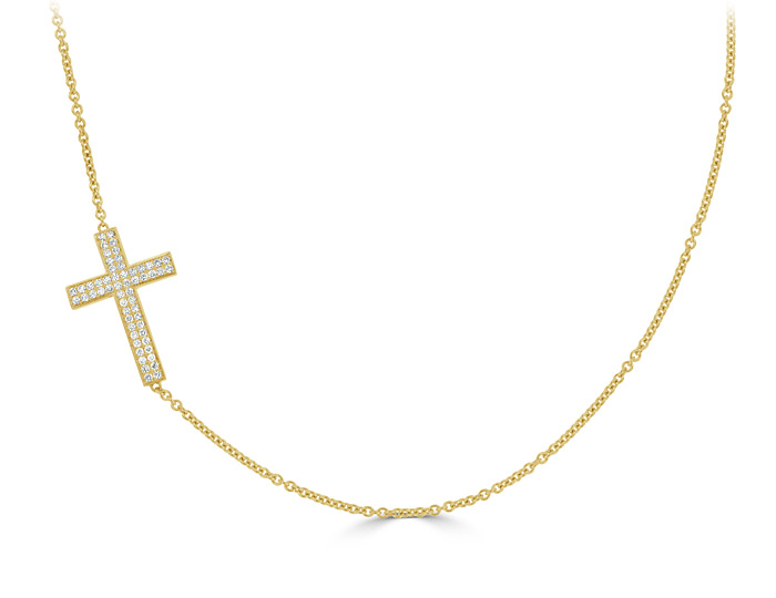 Round brilliant cut diamond cross necklace in 18k yellow gold.