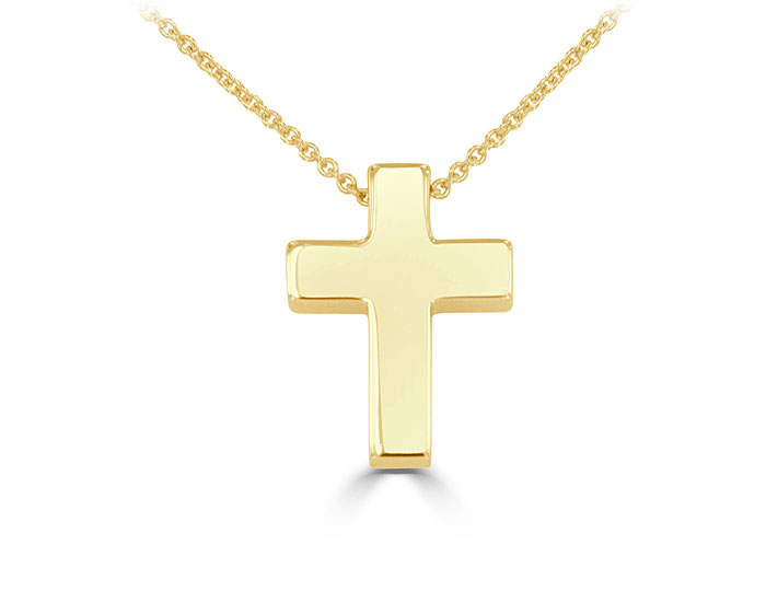 Cross pendant in 14k yellow gold.