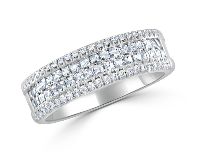 Bez Ambar blaze cut and round brilliant cut diamond band in platinum.