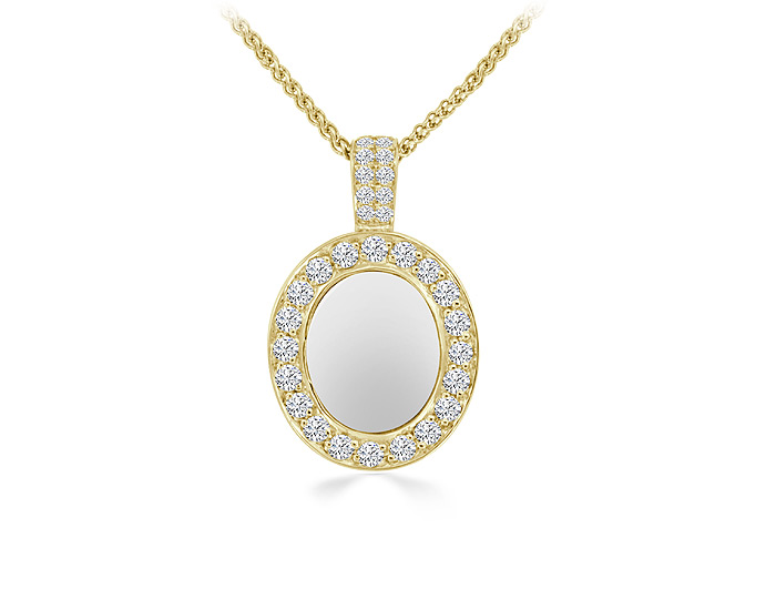 Mother-of-pearl and round brilliant cut diamond pendant in 14k yellow gold.