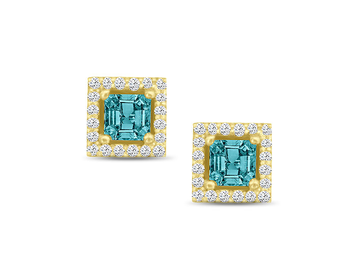 Princess cut aquamarine and round brilliant cut diamond earrings in 18k yellow gold.