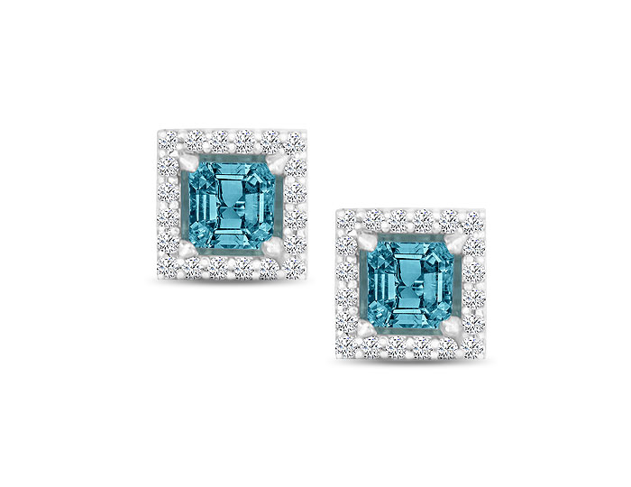 Princess cut aquamarine and round brilliant cut diamond earrings in 18k white gold.