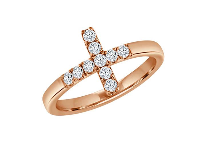 Round brilliant cut diamond cross ring in 18k rose gold.