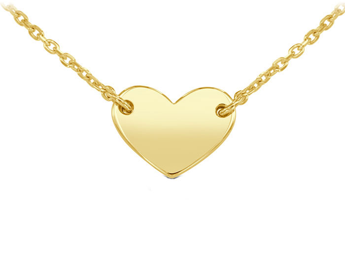 Heart necklace in 14k yellow gold.