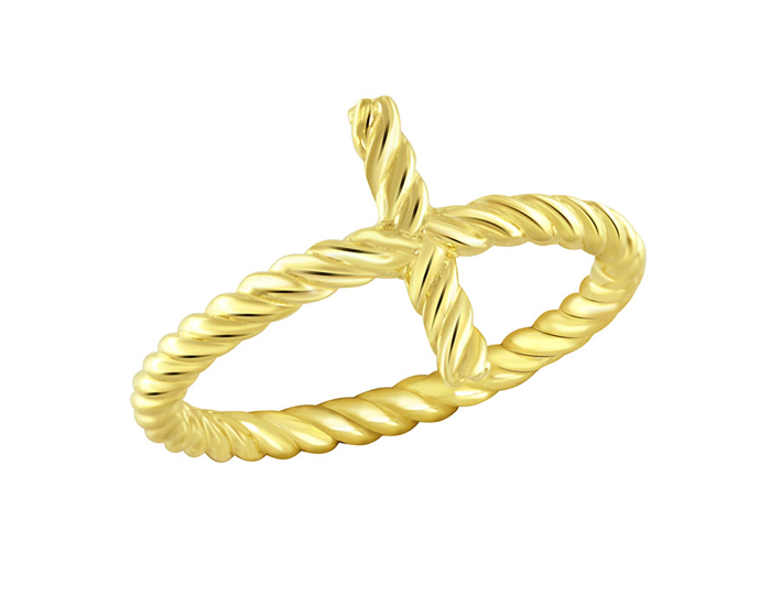 Cross ring in 18k yellow gold.