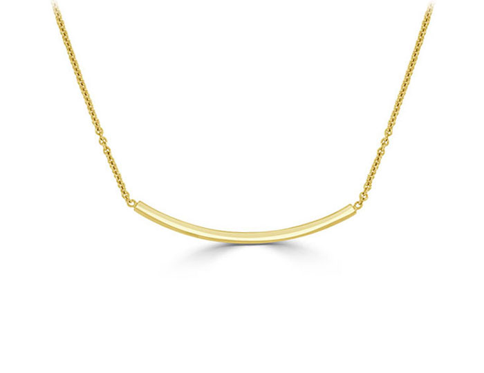 Curved bar necklace in 18k yellow gold.
