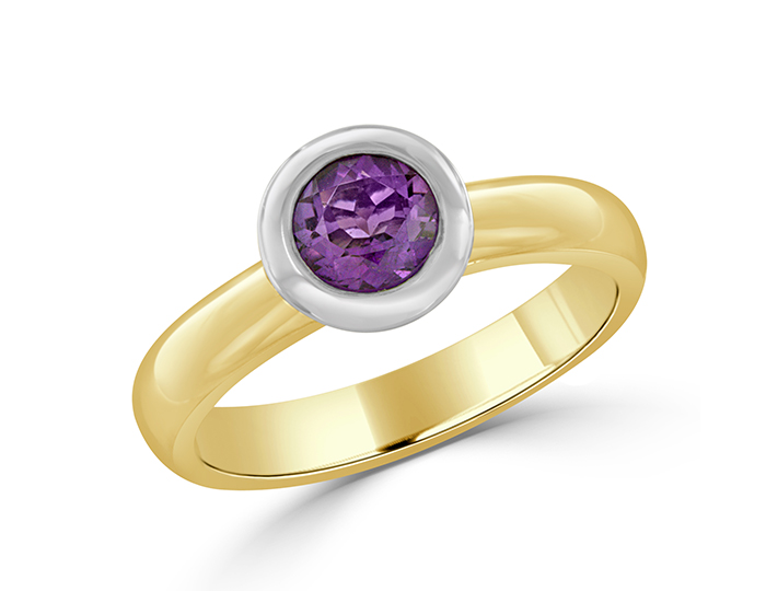 Round amethyst ring in 18k yellow and white gold.