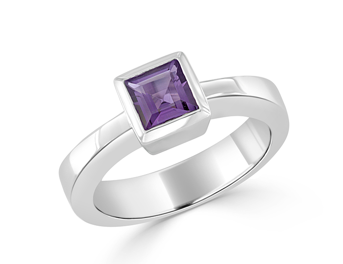 Square amethyst ring in 14k white gold.