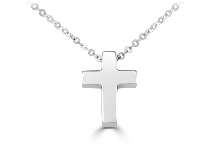 Cross pendant in 14k white gold.
