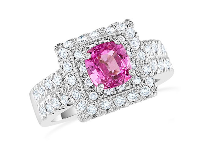 Pink sapphire and round brilliant cut diamond ring in 18k white gold.