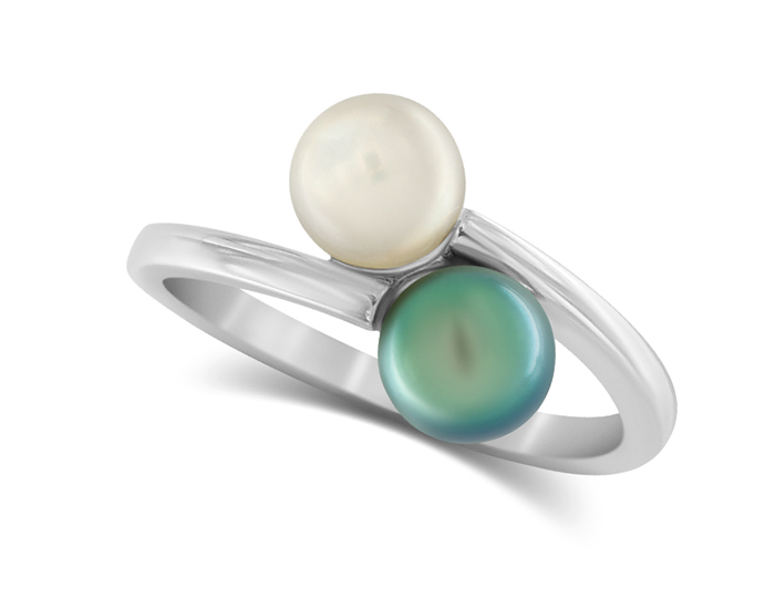 Tahitian and akoya pearl ring in 14k white gold.