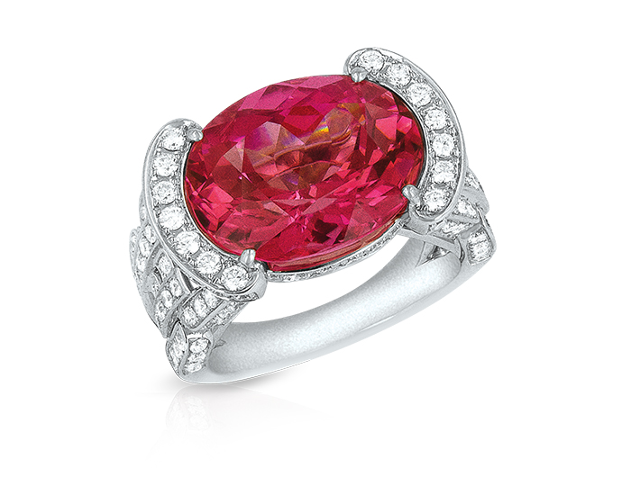 Pink tourmaline and round brilliant cut diamond ring in 18k white gold.