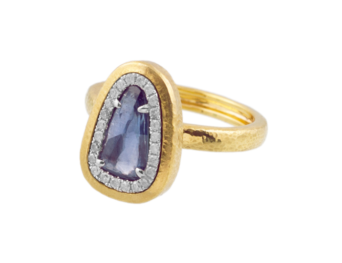 Gurhan sapphire and diamond ring in 24k and 22k yellow gold.