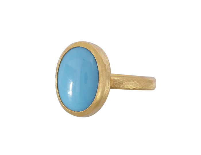 Gurhan Turquoise ring in 24k yellow gold.