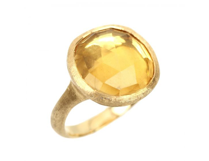 Marco Bicego citrine ring in 18k yellow gold.