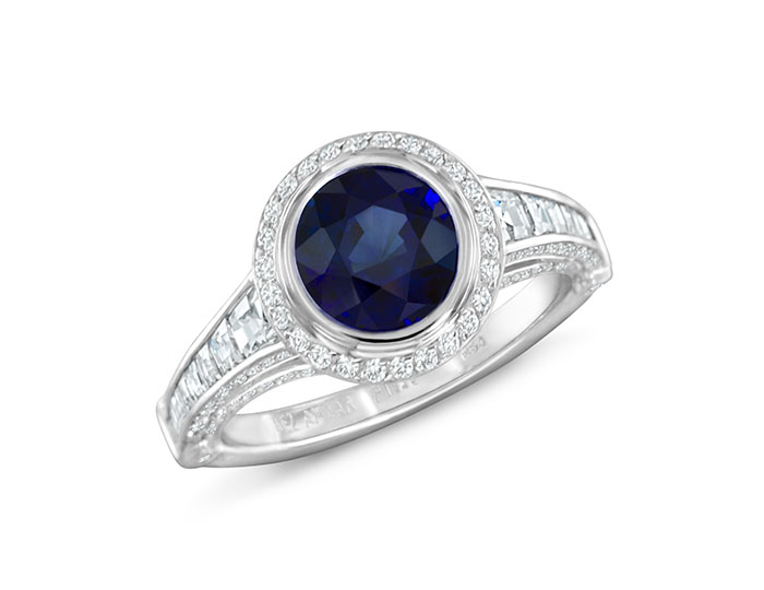 Sapphire and blaze cut diamond and round brilliant cut diamond ring in platinum.