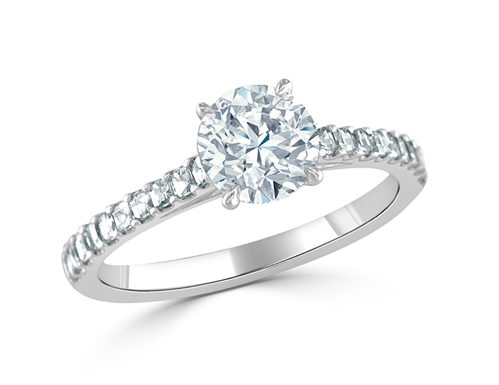 Bez Ambar round brilliant cut and blaze cut diamond engagement ring in platinum.