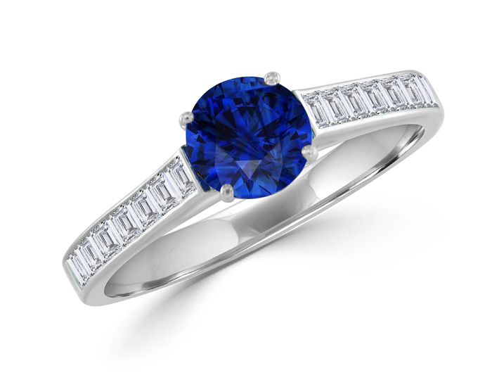 Round sapphire and blaze cut diamond ring in 18k white gold.