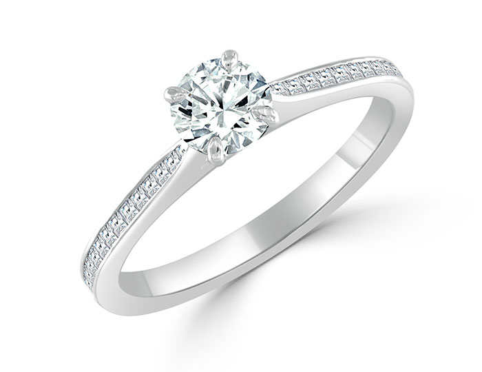 Bez Ambar round brilliant cut and blaze diamond engagement ring in 18k white gold.