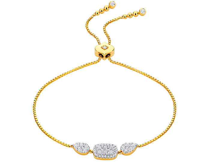Sara Weinstock Reverie collection diamond bolo bracelet in 18k yellow gold.