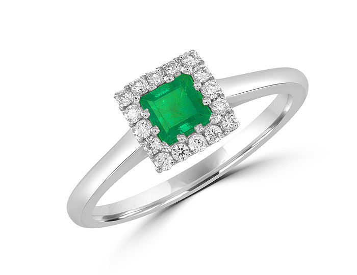 Princess cut emerald and round brilliant cut diamond ring in 18k white gold.