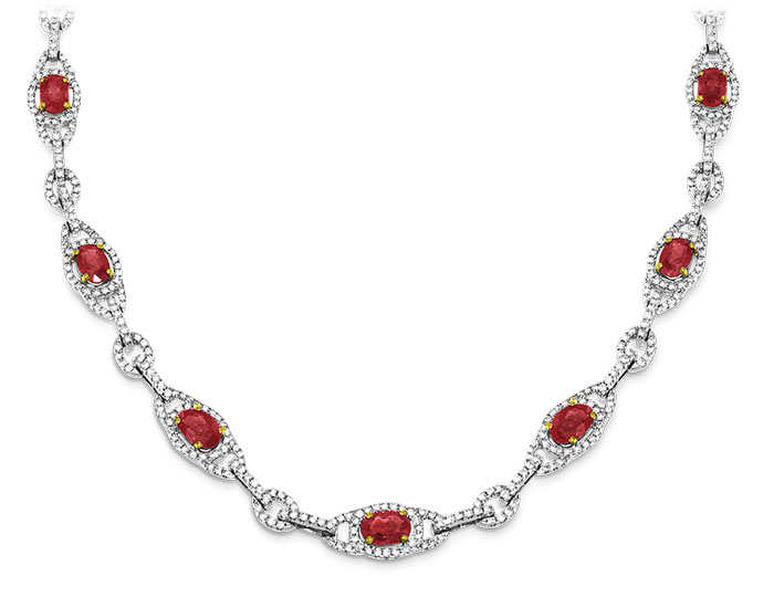 Ruby and round brilliant cut diamond necklace in 18k white gold.