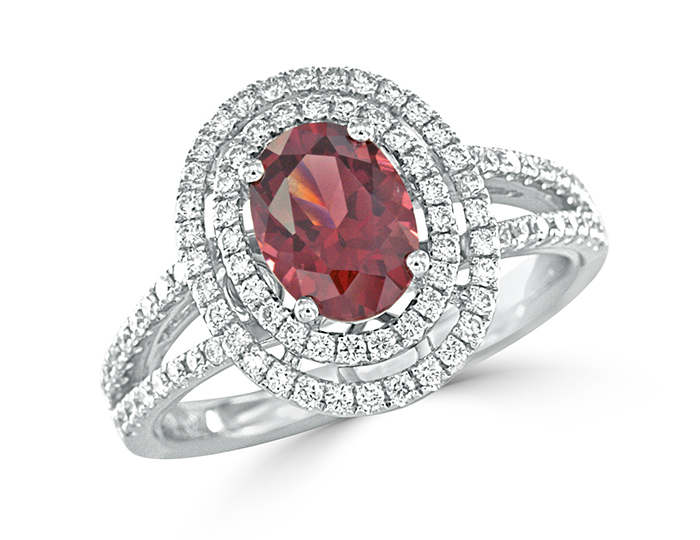 Rhodolite garnet and round brilliant cut diamond ring in 18k white gold.