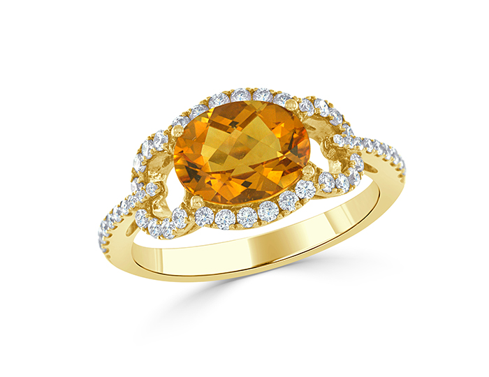 Citrine and round brilliant cut diamond ring in 18k yellow gold.