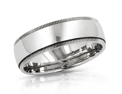 Men's 6.5mm wedding band in 14k white gold.