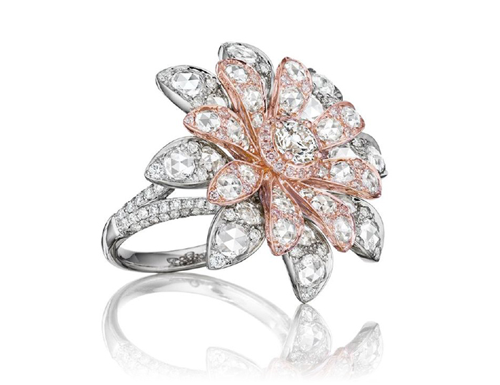 Maria Canale Aster Collection rose cut and round brilliant cut white and pink diamond ring in 18k white and rose gold.