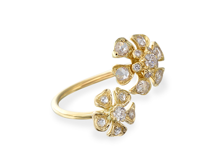 Maria Canale Aster Collection rose cut and round brilliant cut diamond ring in 18k yellow gold.