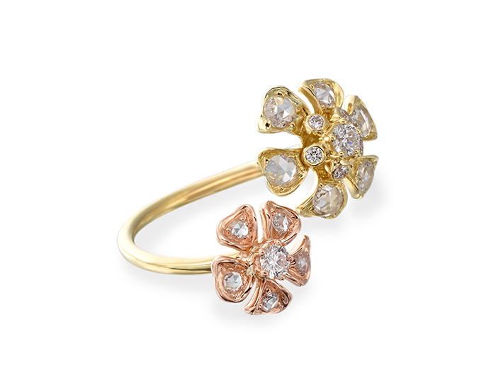 Maria Canale Aster Collection rose cut and round brilliant cut diamond ring in 18k rose and yellow gold.