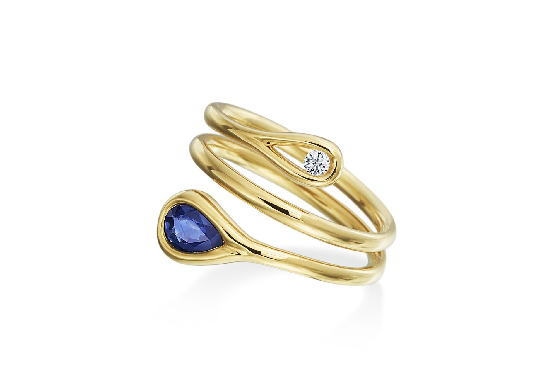 Maria Canale Drop Collection sapphire and round brilliant cut diamond ring in 18k yellow gold.