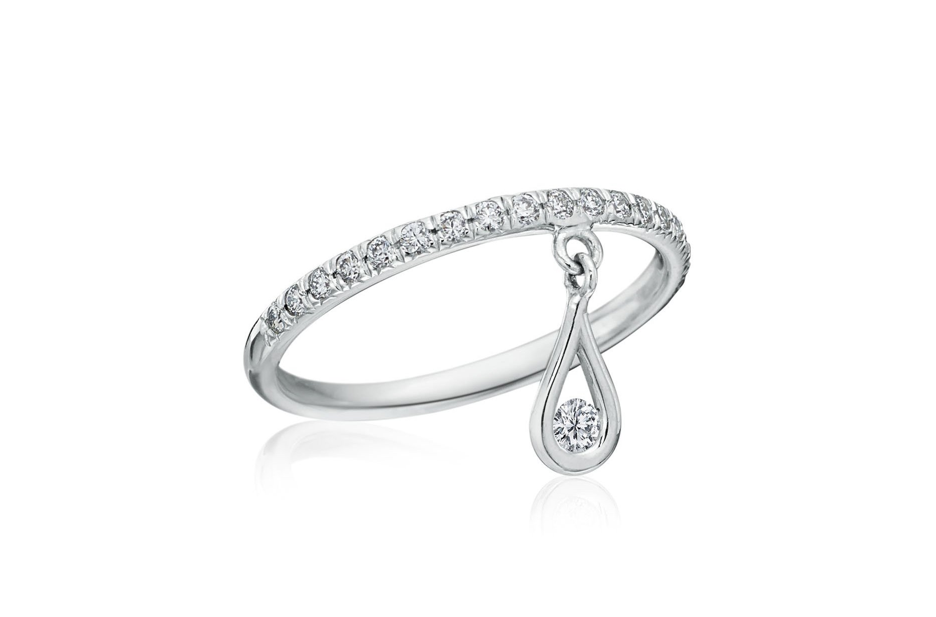 Maria Canale Drop Collection round brilliant cut diamond ring in 18k white gold.