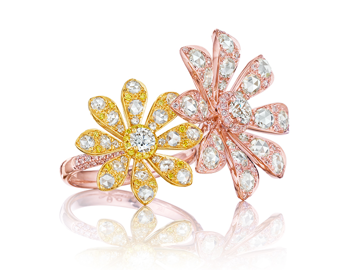Maria Canale Aster Collection rose cut and round brilliant cut diamond ring in 18k yellow and rose gold.