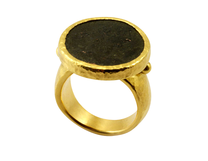 Gurhan one-of-a-kind ancient coin ring in 24k yellow gold.